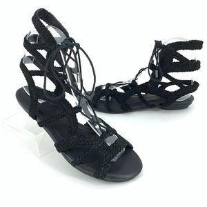 Joie Black Strappy Gladiator Lace up Sandals Sz 7